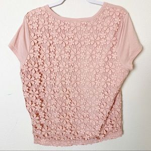 Gap Pastel Pink Large Floral Crochet Top